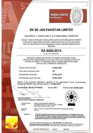 SA 8000 (Be Be Jan Pakistan Ltd.)